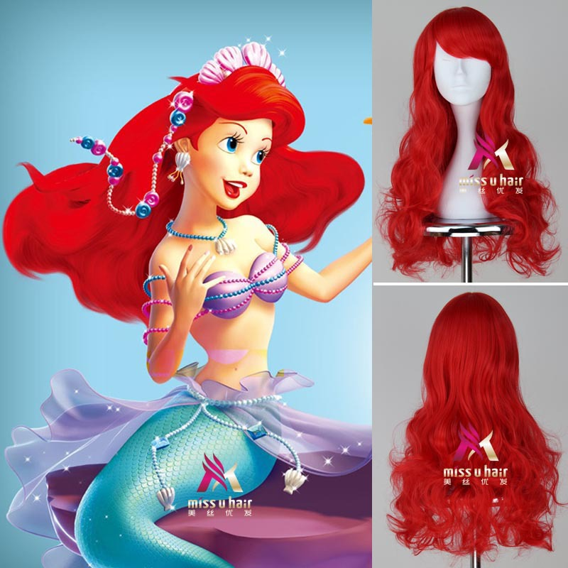 Fairytale Anime Little Mermaid Red Wig Cosplay Princess Ariel Wig Role Play Costume Hair for Halloween