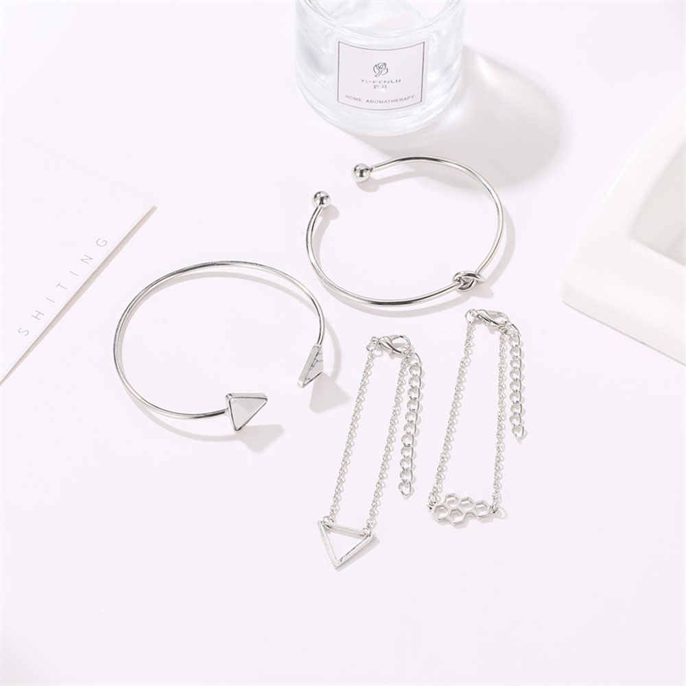 4pcs Set Vintage Charm Bracelet Honeycomb Triangular Natural Stone Mujer Boho Bangle Femme Party Wedding Jewelry Accessories