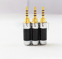 200pcs gold plated carbon fibre 2.5mm 4 pole Male Plug Audio Connector solder , make a new Lavricables text logo