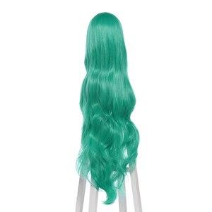 "Image 4 - L דוא""ל פאה LoL כוכב שומרים Soraka קוספליי פאות משחק ארוך ירוק גל פאת קוספליי ליל כל הקדושים עמיד בחום סינטטי שיער"