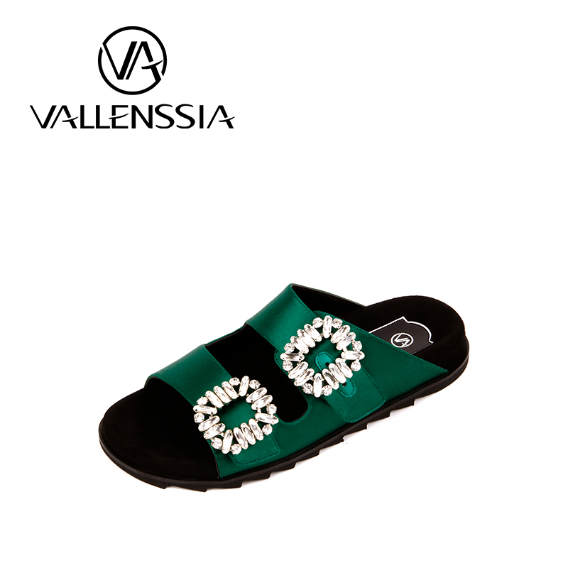 05eb852ef052 Party buckle rhinestone casual slippers female green Wide feet flip flop  flat bottom outdoor wear side buckle lazy sandals-in Women s Flats from  Shoes on ...