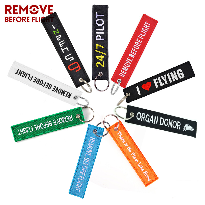 Remove Before Flight Airworthy Key Chains Embroidery Keyring Chain For Pilot Key Tags OEM Key Chains For Cars Fashion Jewelry