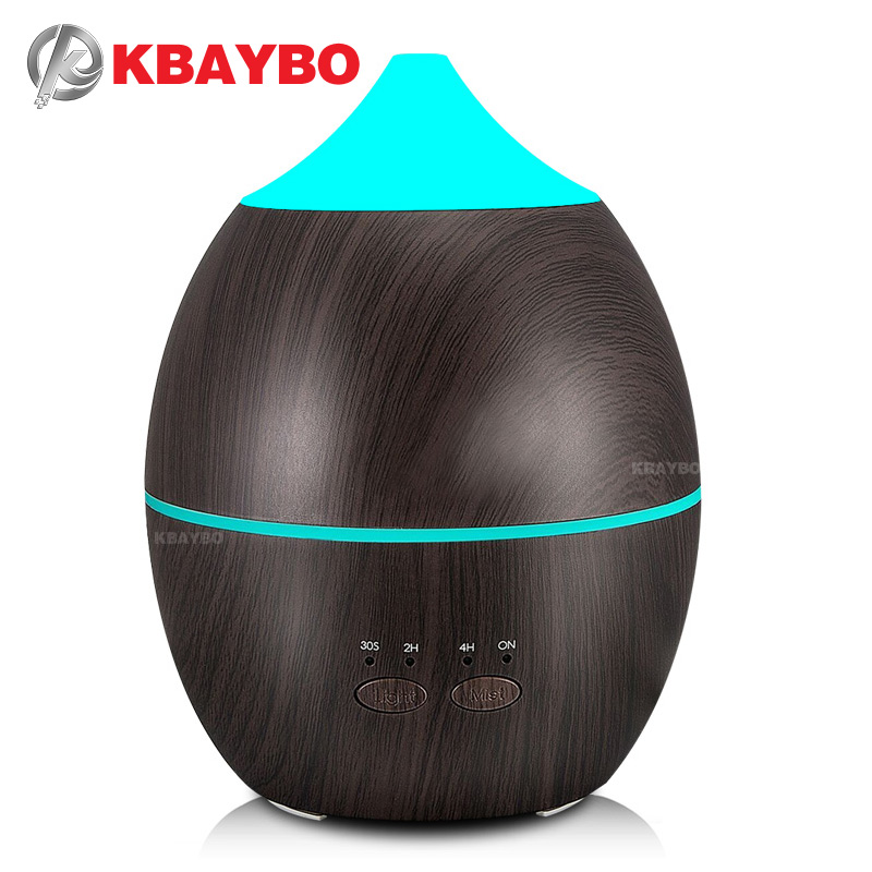 300 ml KBAYBO Umidificador Aroma Difusor de Aromaterapia Difusor do Óleo Essencial de Grão de Madeira Ultra Cool Névoa maker para Home Office