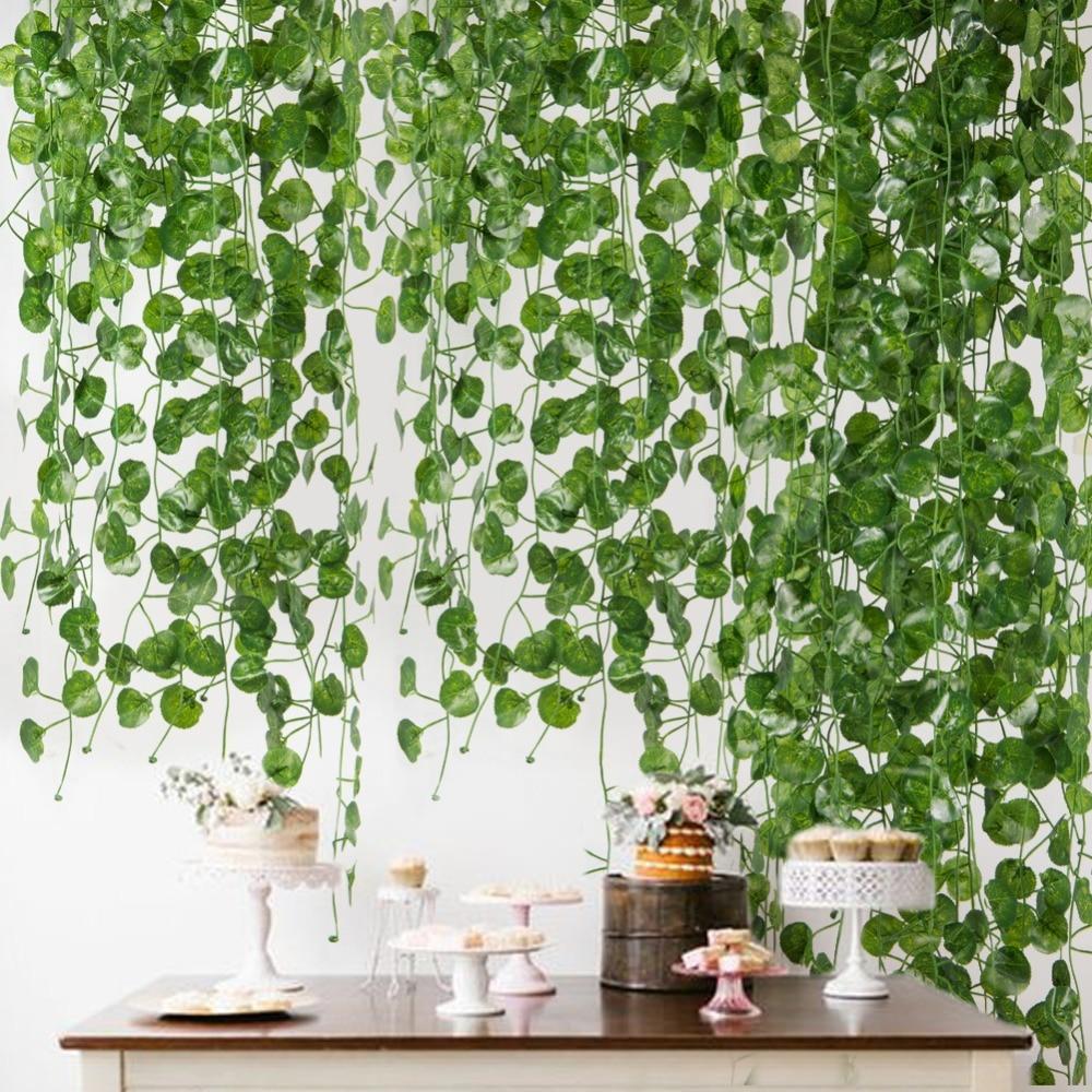 2M Long Artificial Plants Green Ivy Leaves Artificial Grape Vine Fake Parthenocissus Foliage Leaves Home Wedding Bar Decoration