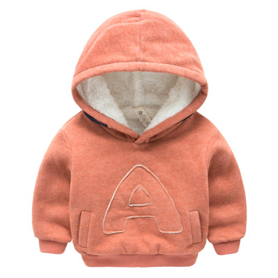 Winter Kids Plus velvet sweatshirts hoodies Thick cotton Fashion Baby Boys girl Warm Cashmere coat clothes Solid color letters