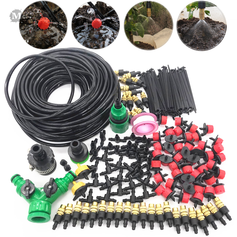 MUCIAKIE  10M 15M 20M 25M 30M Garden Watering Irrigation System Watering Kit With PVC Hose Misting Sprinkler Dripper Tee Adaptor