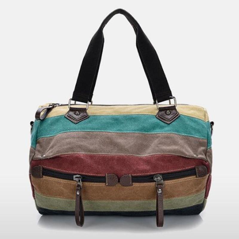 Canvas Cross Body Handbag Large Hobos Bag Totes Bolsas Stripes Shoulder Bags