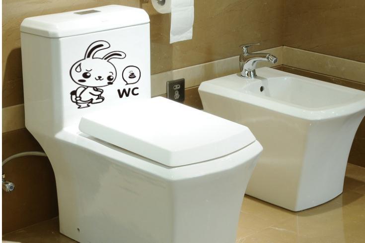 Doorboord gesneden effen groene muurstickers aangebracht wc