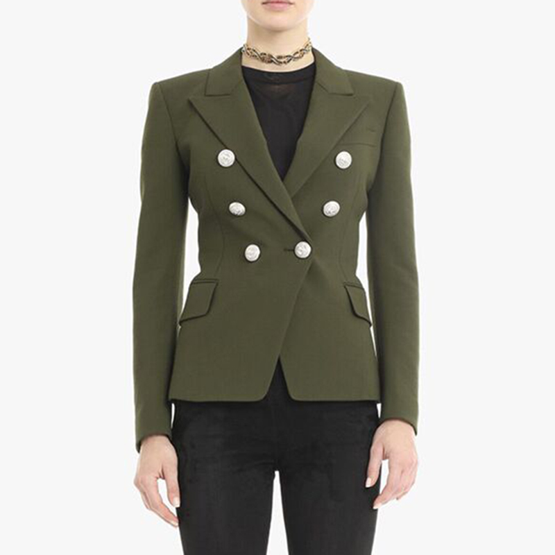 HIGH QUALITY Newest 2020 Designer Blazer Women's Lion Buttons Double Breasted Blazer Jacket Army Green