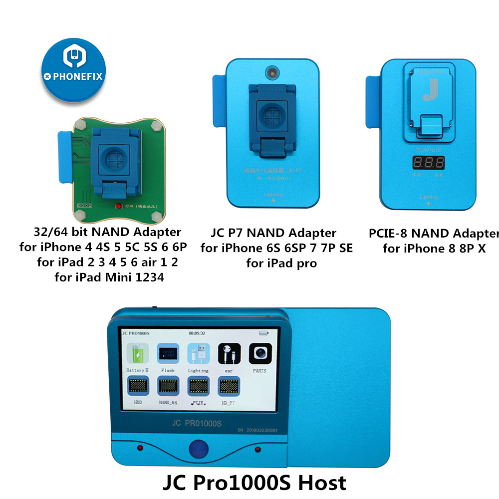 PHONEFIX JC Pro1000S NAND Programmer JC P7 NAND Test Tool SN Read Write Error Repair Tool For IPhone 5SE 6S 6SP 7 7P IPad Pro