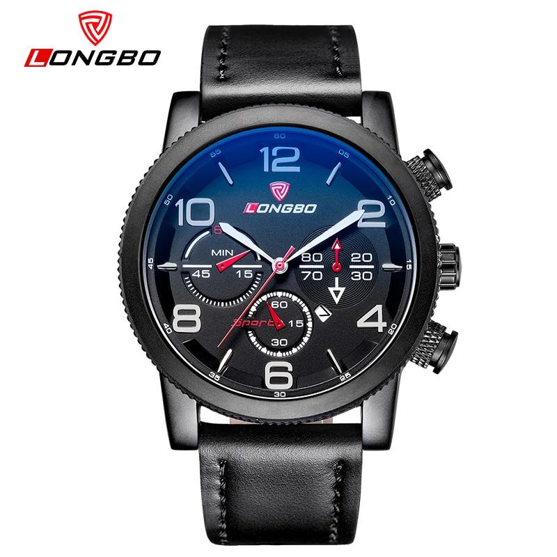 LONGBO Men Genuine Leather Watch Sports Military Waterproof Quartz Watch Men s Date Calendar Wrtistwatch Relogio