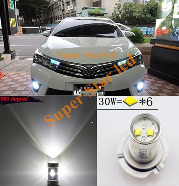 2х Н16 PGJ19-3 Белый для КРИ проектор чипы светодиодные Противотуманные фары дневного света лампы для Toyota RAV4 и японских автомобилей