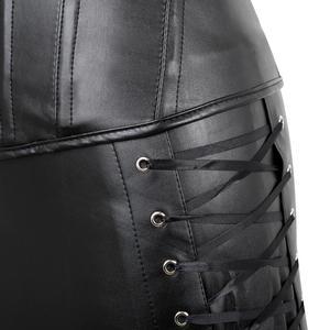 Image 4 - Ze sztucznej skóry gorset do sukienki Steampunk Sexy gorset gorset z Mini spódnica na zamek błyskawiczny Gothic egzotyczne Burlesque Espartilho Plus rozmiar