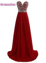 KapokBanyan Real Photo Deep Red Sweetheart Prom Dresses 2017 New Sweep Train Crystal Party Evening Gown Luxury Vestido de festa