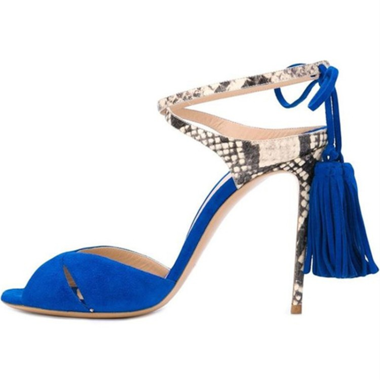ФОТО 2017 new style women sandals stiletto high heels three color for your selection black yellow and blue fringe decoration