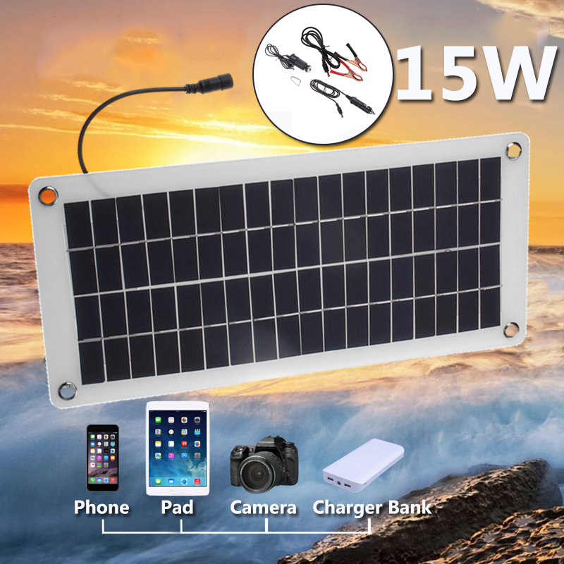15W 12V 5V Solar Panel Portable Power Bank Board External Battery Charging Solar Cell Board DIY Clips Outdoor Travelling