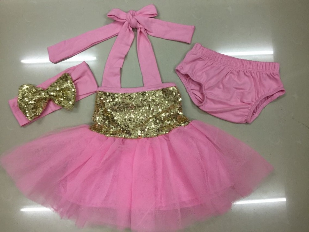 Blush Pink Gold Glitter Sparkle Tulle DressBabys 1st