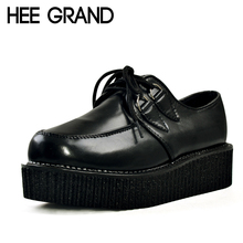 HEE GRAND 2016 Women Platform Flats Lace-up Artificial Leather Shoes Woman Spring Flat Creepers White Black Size 35-39 XWD367