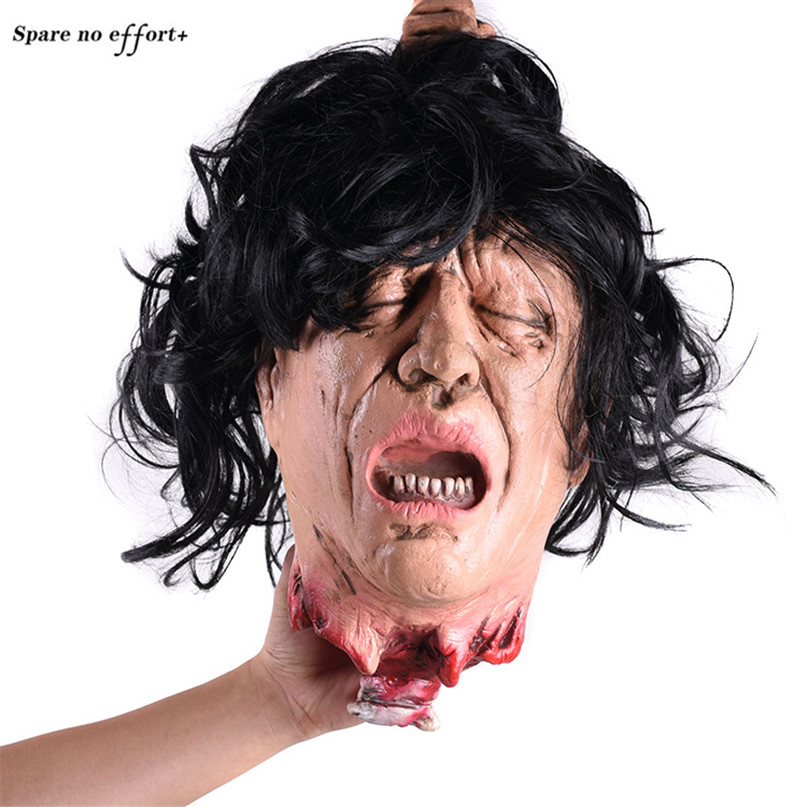Halloween Horror Decoration Props Latex Woman Head Home Haunted House Escape Ktv Bar Hanging Pendant Scary Simulation Ghost Head