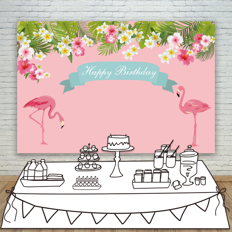 ФОТО Allenjoy Background Photography customized pink Flamingo photography backdrops beautiful flower birthday background