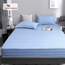 Slowdream 1PCS Blue Striped Fitted Sheet On Mattress Covers Mans Bed Sheets Elastic Band With Rubber Corners Double Siz