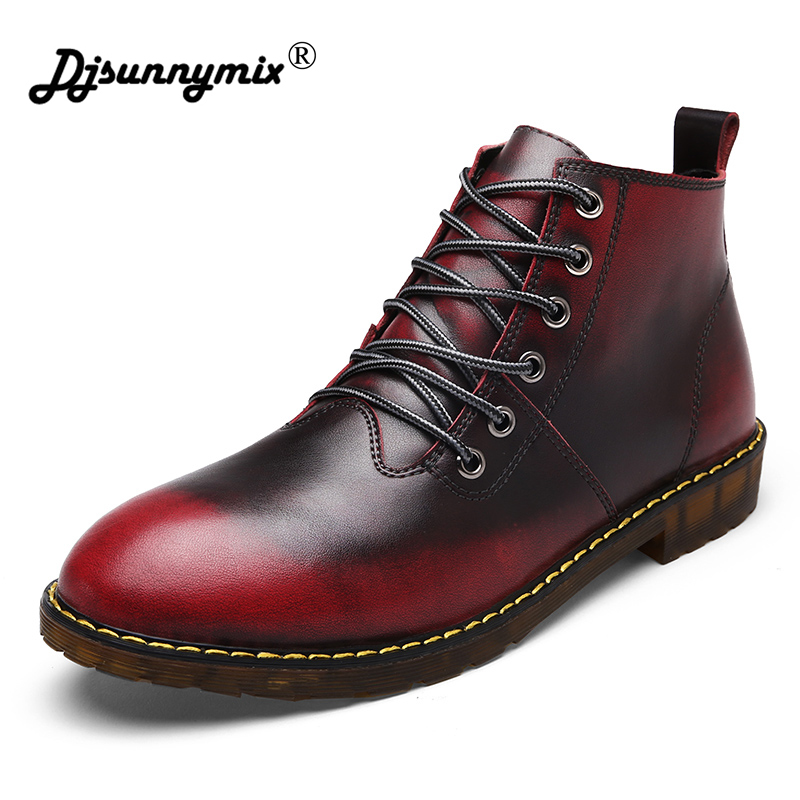 DJSUNNYMIX Brand Cowhide leather Autumn Winter Warm fur Vintage Motorcycle Boots Male Martin Shoes Men Snow Ankle High Top shoes lozoga quality genuine leather shoes men boots high top martin motorcycle autumn winter shoes lover snow boots free shipping