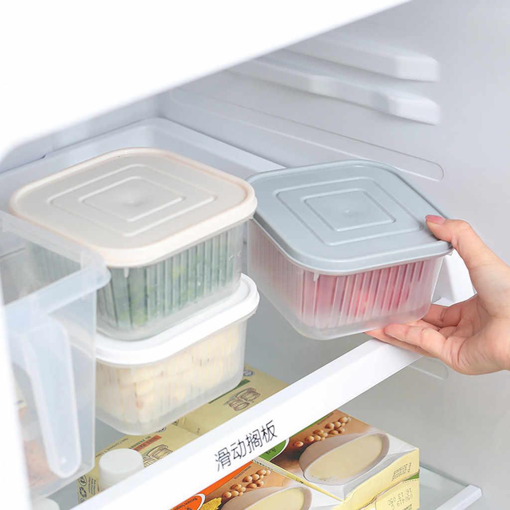 Square Drain Sealed Box Ginger Garlic Onion Food Container Refrigerator Storage quality Kitchen Organizer Fridge Storage Box new