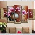 Handgemalte Multi-panels Lila magnolia blumen ölgemälde auf leinwand fünf panles magnolia wandbilder für dekoration