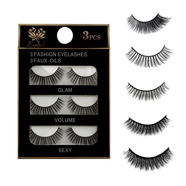 3 paires de faux cils naturels beauté maquillage épais croix volumineux Style malpropre cils Extension femmes mode maquillage outil