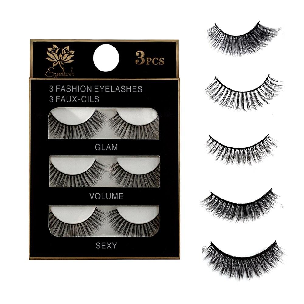 3 Pairs Natural False Eyelashes Beauty Make Up Thick Cross Voluminous Messy Style Eye Lashes Extension Women Fashion Makeup Tool