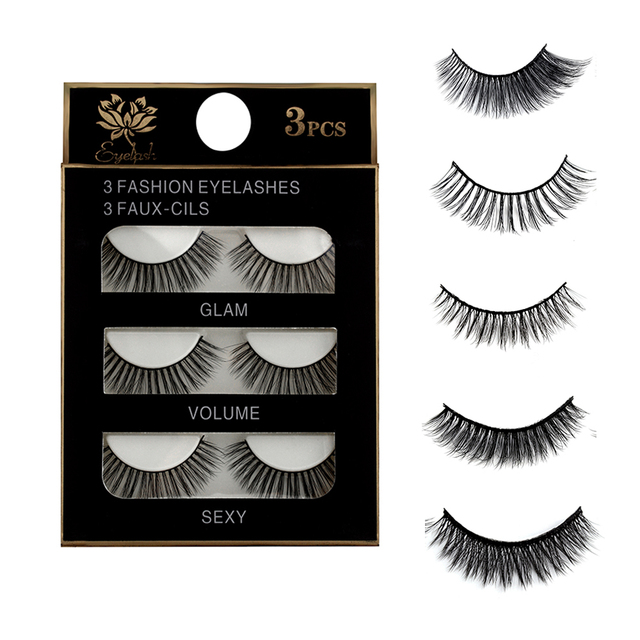 d4110491f3a 3Pairs Natural False Eyelashes Beauty Make up Thick Cross Voluminous Messy  Style Eye Lashes Extension Women Fashion Makeup Tool