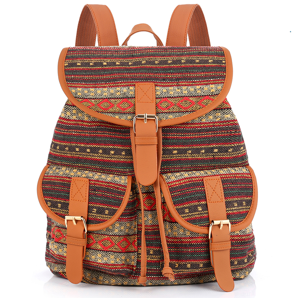 2018 Vintage Bohemian Thai Woven Boho Backpack School Bag Aztec Bagpack Rucksack Casual Daypack Tribal Drawstring Bag free shipping vintage hmong tribal ethnic thai indian boho shoulder bag message bag pu leather handmade embroidery tapestry 1018