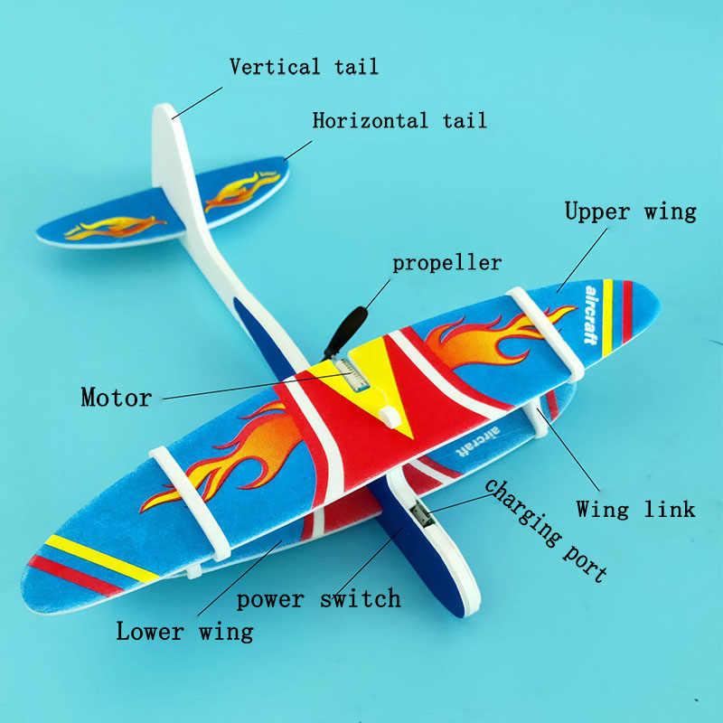 Avião elétrico led epp espuma avião lançamento mão jogando planador modelo de aeronaves ao ar livre crianças brinquedo educativo presente adulto