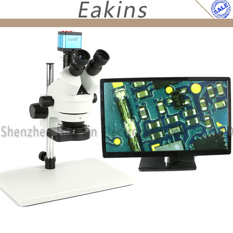 7X-45X Trinocular Microscope Inspection Zoom Stereo Microscope 14MP HDMI USB C-mount Camera +144 LED Ring Light + C adapter