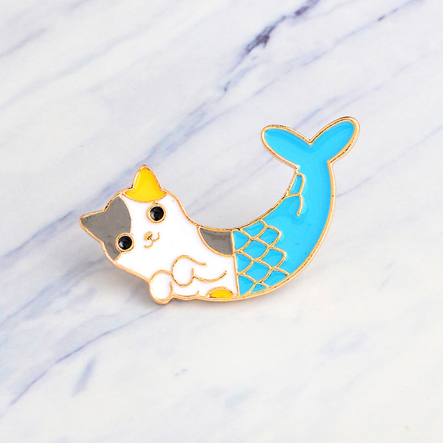 SMJEL Kids Jewelry Animal Brooch Mermaid Pins Broches Costume Cat Brooches for Women Accessories Metal badge Set