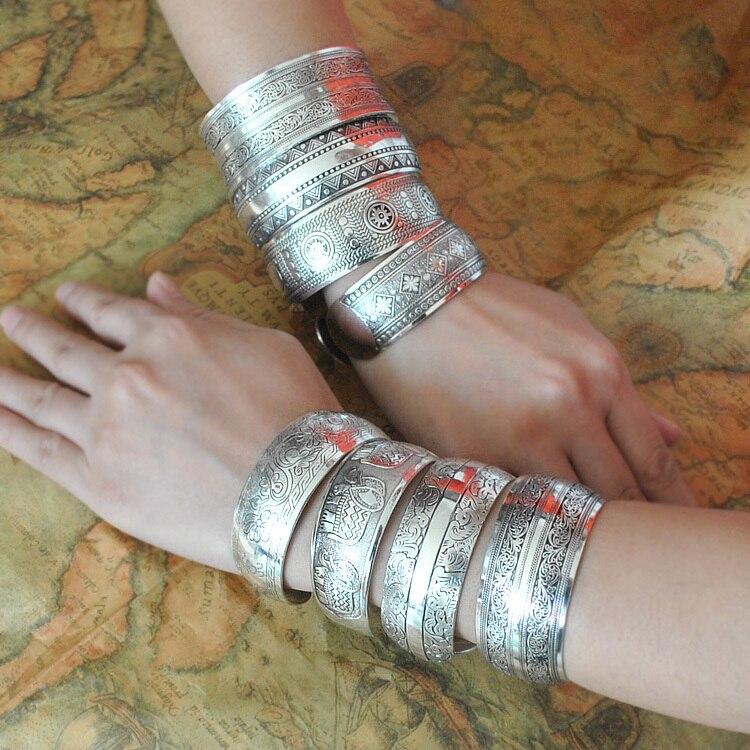 Fine Jewelry Bracelets Bangles Vintage Tibet Silver Carving Jewelry Bracelet For Women&Men Cuff Bracelets For Christmas Gift
