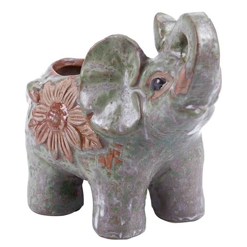 BMBY-Ceramic Mini Elephant Cacti Succulent Plant Pot Flower Planter Garden Home Decor