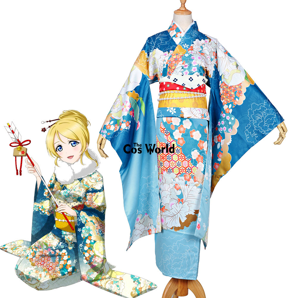 Love Live School Idol Project Ayase Eli Japanese New Year Kimono Yukata Dress Uniform Outfit Anime Cosplay Costumes 18cm japanese anime lovelive love live school idol project birthday figure project eli ayase ellie 1 8 scale pvc action figure