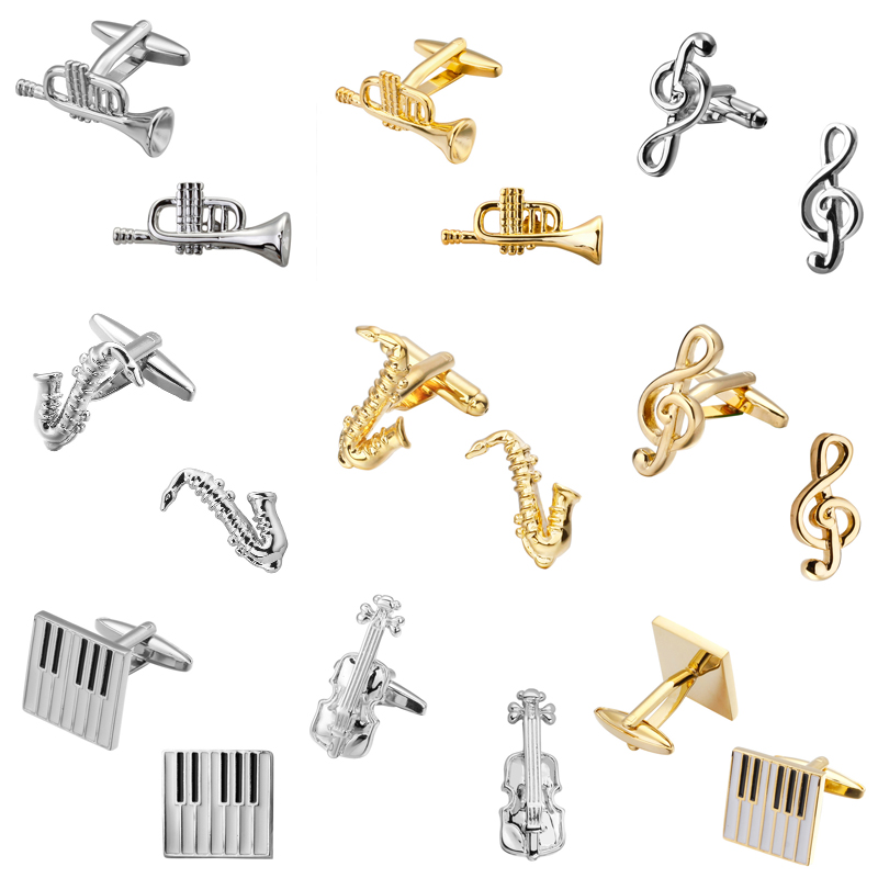 are gold and silver music equipment musician sax piano violin mens wedding shirt cufflinks cuff links