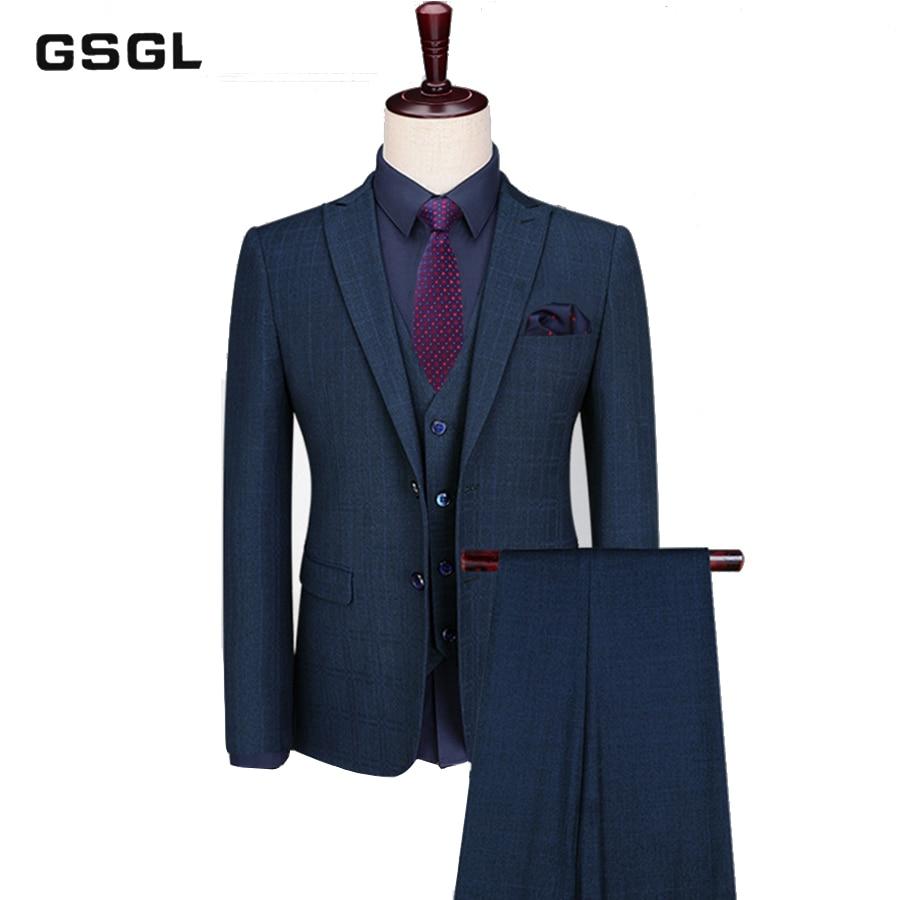 Men Green Plaid Tweed Suit Two Button Formal Dinner Tuxedo Party Vintage Suit
