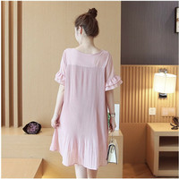 Summer Expectant Mother Casual Chiffon Dresses Petal Sleeve Loose Maternity Dress Pleated Pregnant Women Clothing