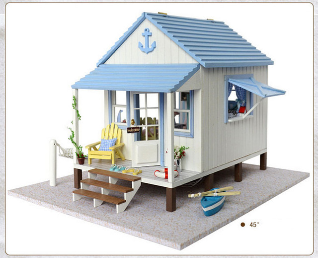 Free Shipping DIY large villa Wooden Doll House Miniature coast of happiness Manual assembled model Birthday gift Dollhouse Toy