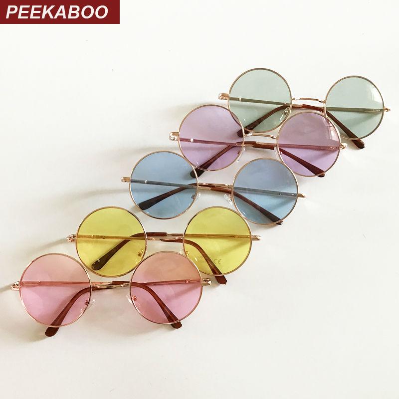 Peekaboo vintage runda solglasögon kvinnor manlig billig solglasögon runt män gul blå grön uv400 metall