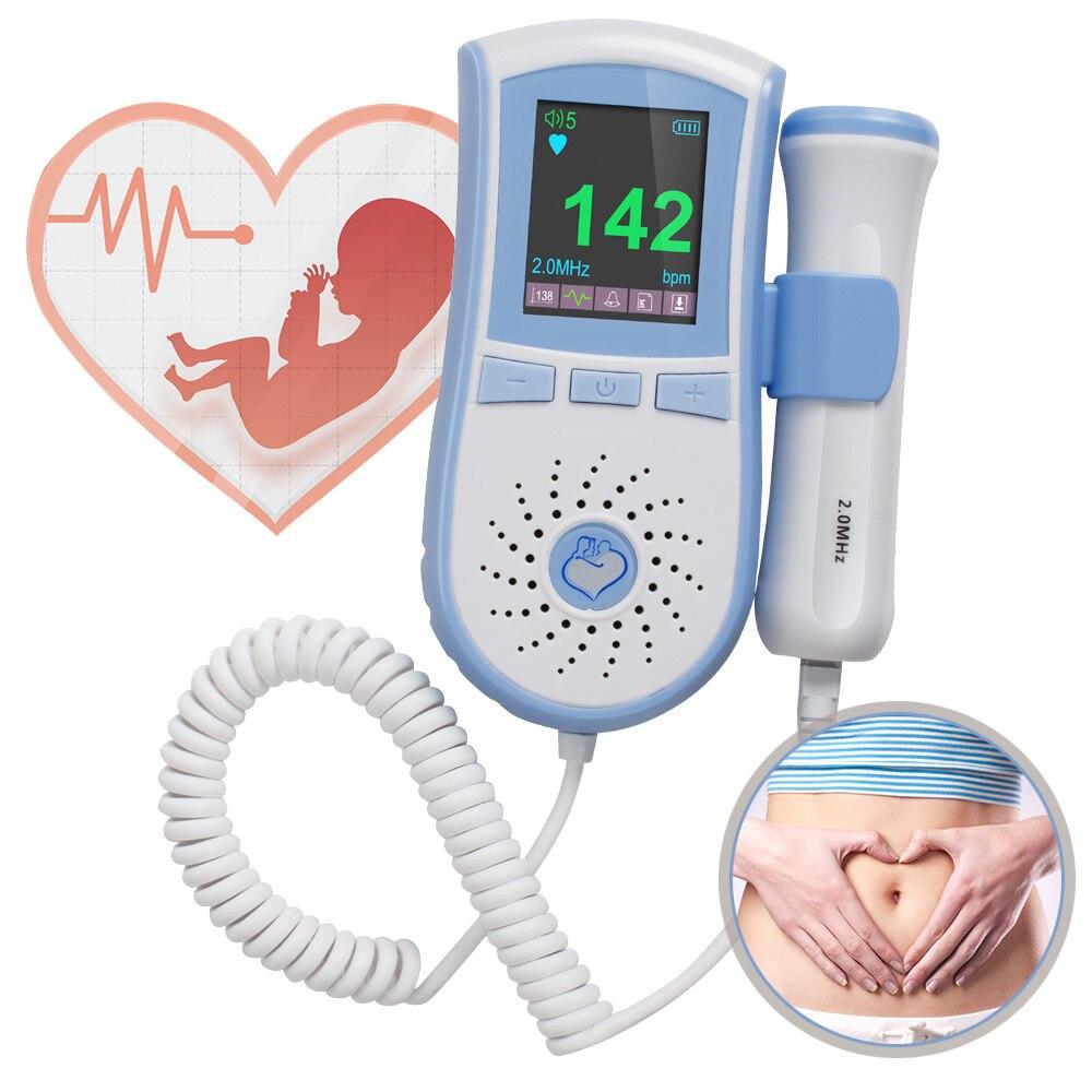 2MHz Probe Pocket Fetal Doppler Dual Interface Display Color LCD Display Prenatal Heart Baby Heart Monitor Blue fetal heart doppler pocket prenatal heart baby sound monitor 3mhz probe with color lcd display