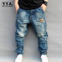 Bleu Trou Déchiré Baggy Jeans Hommes Hip Hop Streetwear Skateboarder Denim Pantalon Hommes de Loose Fit Plus La Taille Hiphop Jeans Taille S-4XL