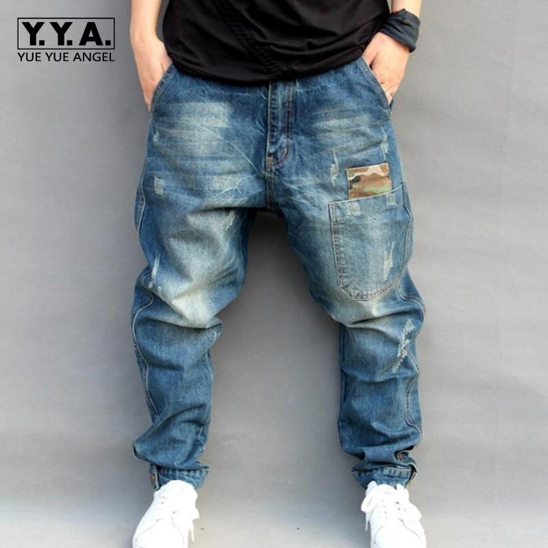 Blue Hole Ripped Baggy Jeans Men Hip Hop Streetwear ...