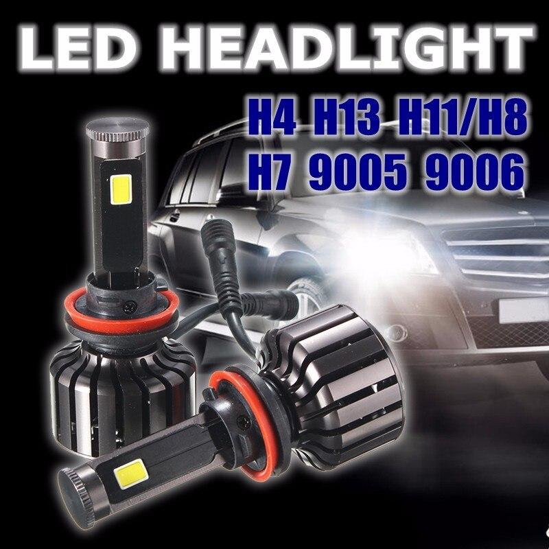 ФОТО H4 Hi/Lo Beam H13 Hi/Lo Beam H7 H11/H8 9005 9006 120W 10000LM COB LED Car Headlight Conversion Kit Light Lamp Bulbs 6000K White