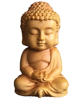 Poplar Wood Carved Little Buddha Statue Hand to Play with Articles and Handicrafts Creative Gifts for Automobile Decorations