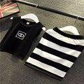 Girls Clothes Children Clothing Black Sleeveless Shirt + Stripe Girls Dresses Set Summer Kids Tracksuits Dress For Girls