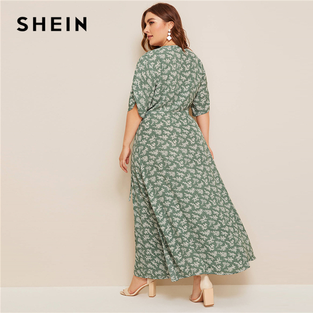 SHEIN Plus Size Ditsy Floral Knot Side Wrap Maxi Dress Women Summer Autumn Half Sleeve V Neck Fit and Flare Boho Empire Dresses 2